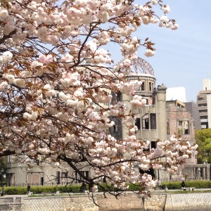 The surviving Dome with cherry blossoms in Springtime
